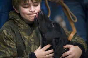 dog kissing girl